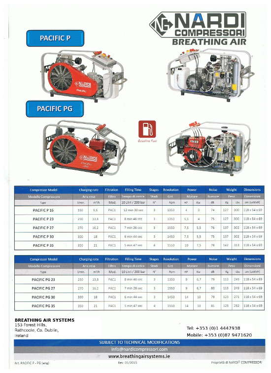 Pacific P and Pacific PG Nardi Breathing Air Compressors
