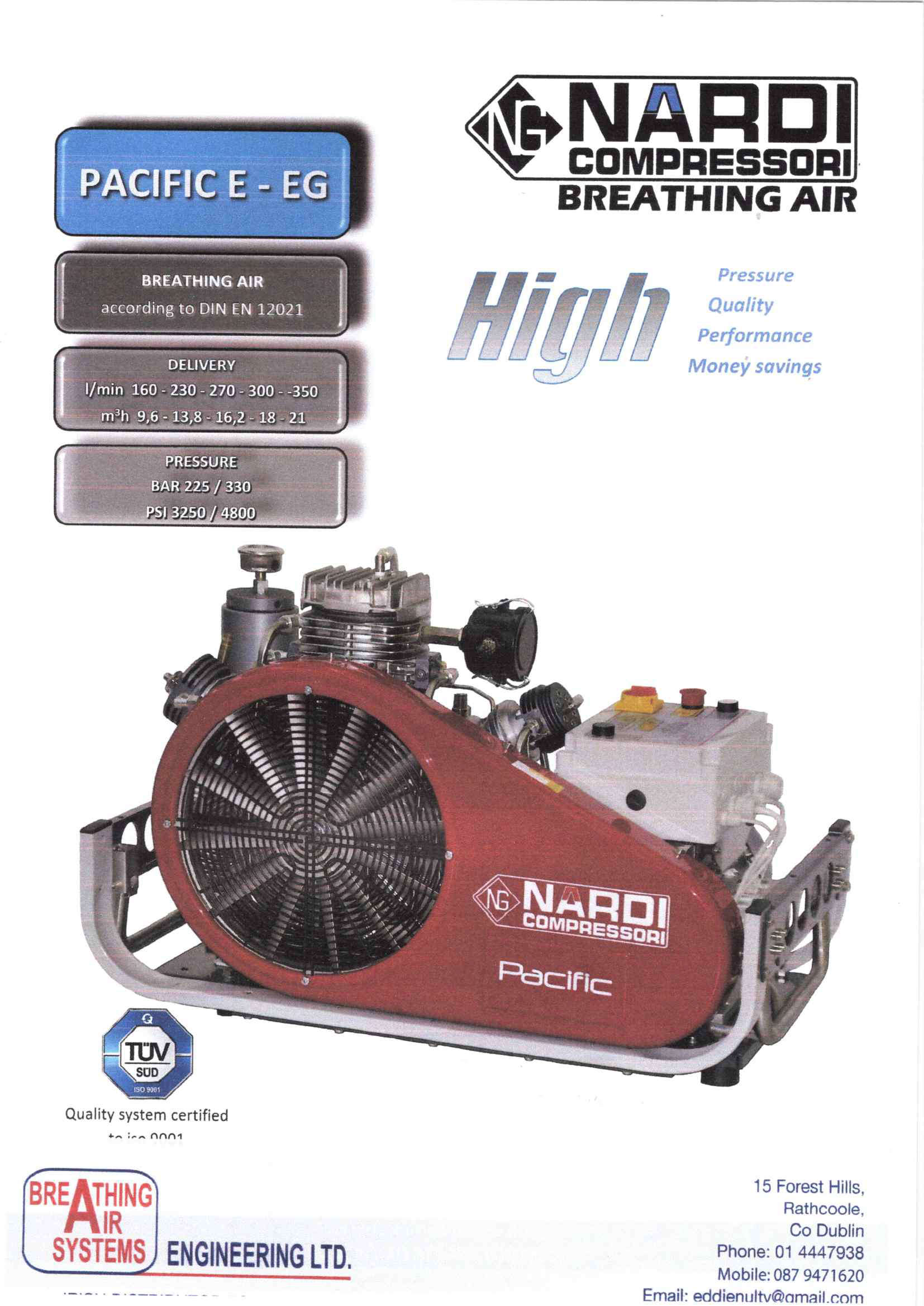 Pacific E-EG Nardi Breathing Air Compressors