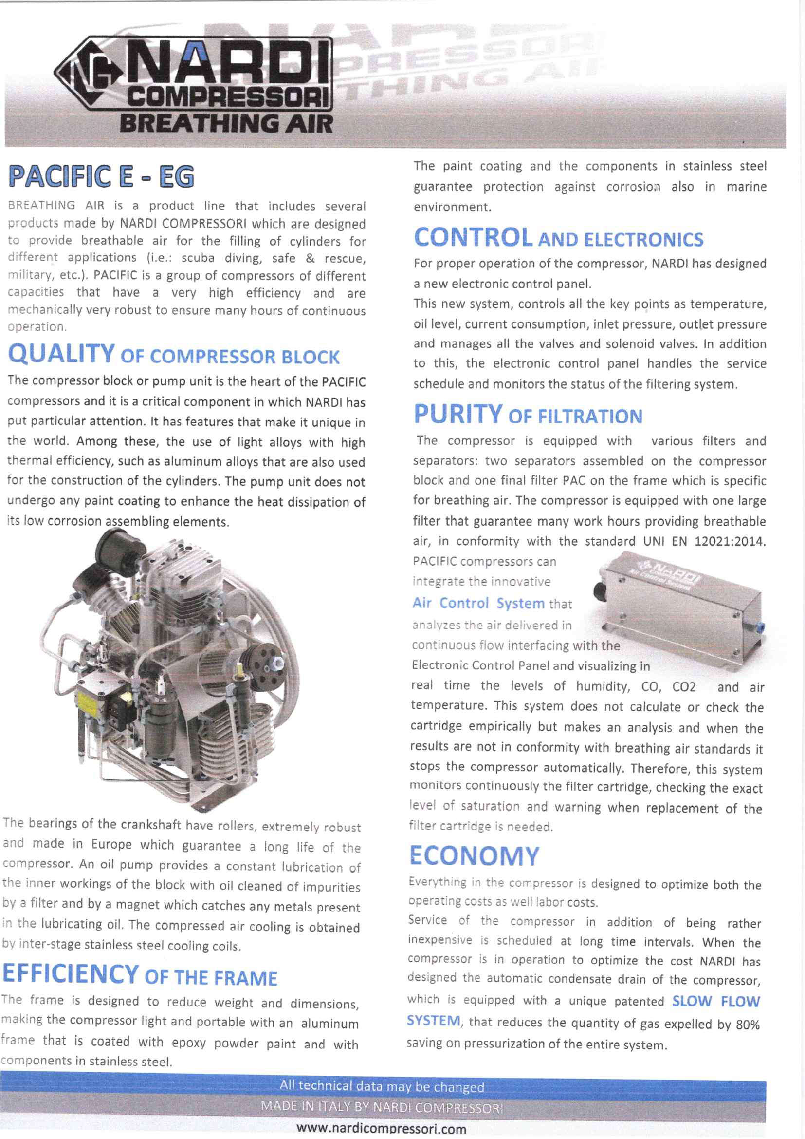 Quality, Control & Filtration Purity - Pacific E-EG Nardi Breathing Air Compressors